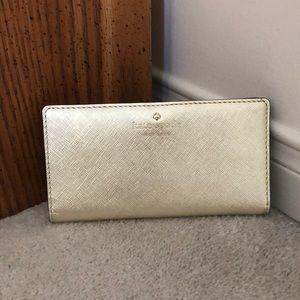 Metallic Gold Kate Spade Large Bifold wallet